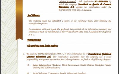 CGCE cuenta con la revalidación WORLDCOB-CSR: 2011.3 por Responsabilidad Social Empresarial por tercer año consecutivo.