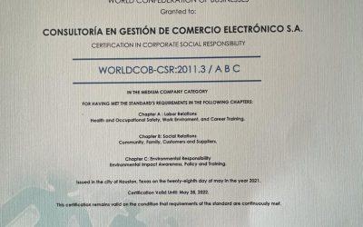 CGCE cuenta con la revalidación WORLDCOB-CSR: 2011.3, Responsabilidad Social Empresarial por sus políticas empresariales acordes con la sostenibilidad y las causas sociales en su localidad.